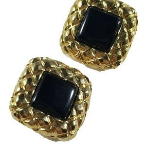 Liz Claiborne Gold Tone Black Clip On Earrings